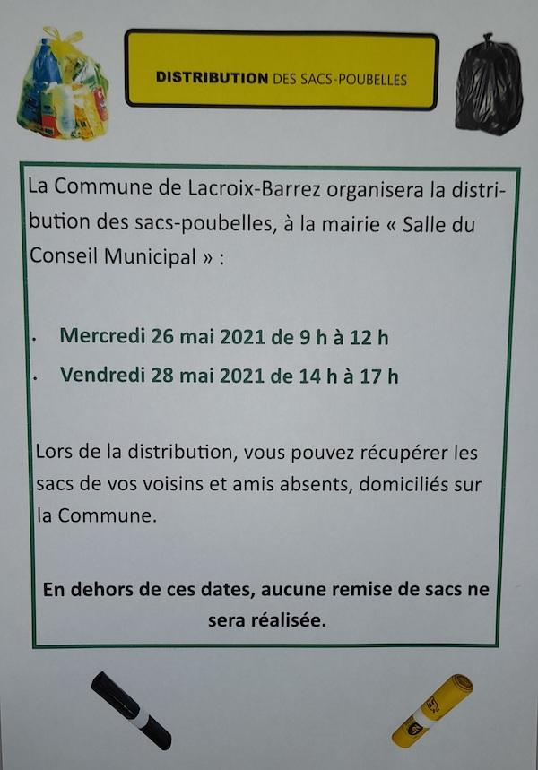 dates distribution sacs poubelles